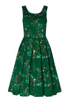 Amanda Vintage Inspired Forest Green Bird Print Dress with Pockets This gorgeous pin up girl style dress has been cut to compliment your curves! The retro frock features a lovely flattering fitted bodice, simple scoop neckline, swinging skirt with bo Retro Fashion, Girl Fashion, Vintage Fashion, Vintage Style, Retro Vintage, 50s Dresses, Fashion Dresses, Summer Dresses, Bird Dress