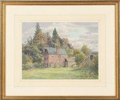 "aquarelle sur papier de Stanley Roy BADMIN (1906-1989) ""The Old Mill, Bignor"" sbg. <br>23.1x30.9 cm <br> Référence: <br>""The Old Mill, Bignor"" was exhibited at Lannards Gallery, Billinghurst, West Sussex, from 9.7 - 24.7.1988 <br> <br>Paintings    <br>Tableaux - Encadrés Illustrators, Paintings, Artists, Gallery, Framed Chalkboard, Watercolor Painting, Paper, Paint, Painting Art"
