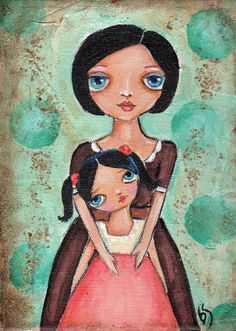 Mother and Daughter Folk Art painting Orignal acrylic Sale. $35.00, via Etsy.