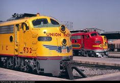 UP 932 is a EMD that was built in March of 1953 and the Santa Fe Engine 39 C is a that was built in September of 1949 Union Pacific Engine 932 And Santa Fe Engine 39 C Pacific Union, Union Pacific Railroad, Train Car, Train Tracks, Railroad Photography, Old Trains, Vintage Trains, Train Pictures, Diesel Locomotive