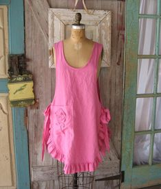 linen jumper pinafore apron dress tunic smock in bright pink. I love this piece..it is so feminine and the perfect layering item. I used a bright