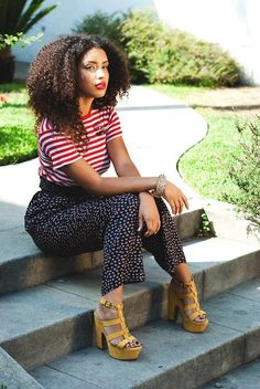 patterns + yellow heels + big curly hair = the whole look Big Curly Hair, Curly Girl, Curly Hair Styles, Natural Hair Styles, Looks Instagram, Look 2017, Black Hairstyles With Weave, Pelo Afro, Natural Hair Inspiration
