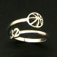 Basketball Discover 925 Silver Custom Basketball Number Ring - Gift for Mom Basketball Lovers Sport Ring Outdoor Sport Gift NetballBasket Ball Gift for Her Volleyball Jewelry, Basketball Necklace, Basketball Rim, Custom Basketball, Basketball Gifts, Sports Gifts, Softball Gifts, Wizards Basketball, Cheerleading Gifts