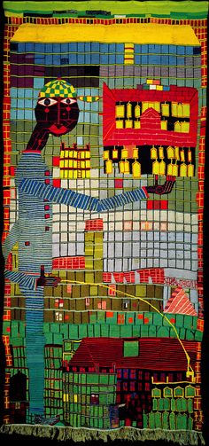 Hundertwasser's first tapestry 133 Pissing Boy With Sky-Scraper was woven 1952 because of a bet in which he claimed that he could weave a tapestry freehand without a cardboard template, which means without a weaving pattern the size of the tapestry.
