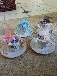 Bridal shower tea party - get teacups from treasuremart and place prizes inside for people who win the games