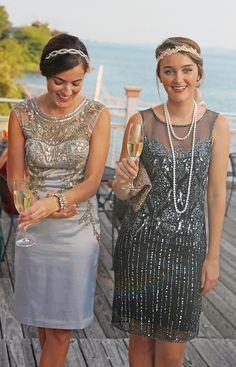 Great Gatsby fashion, 20s attire (Brunette) Dress: Sue Wong Shoes: Oscar de la Renta Bag: Kate Spade Bracelet: J.Crew Hair Band: Anthropologie (Blonde) Dress: Pisarro Nights Shoes: J.Crew Hair Band: Forever 21