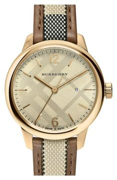 b03c71efa Burberry Check Leather Strap Watch, 32mm available at #Nordstrom Casual  Watches, Womens Fashion
