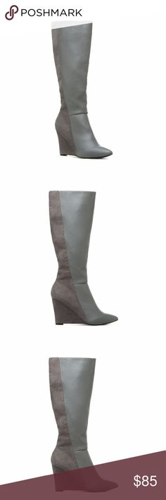 IZABELLA RUE Knee-High Two-Tone Gray Wedge Boots IZABELLA RUE Knee-High Two-Tone Gray Wedge Boots. Size 10.  Mixed-material looks are all the rage this season, and this knee-high, pointed-toe boot is no exception. IZABELLA RUE makes everyday style intriguing with a diagonal stitch and wedge heel. Izabella Rue Shoes Heeled Boots
