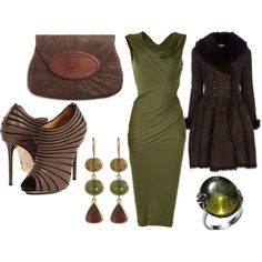 Sexy Sage Green Dress.  Love the taupe shoes & bag.