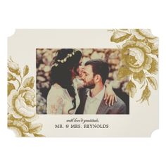 Vintage Roses Wedding Thank You Champagne Shimmer Card - wedding invitations diy cyo special idea personalize card