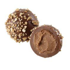 Hazelnut Praliné Truffle - Traditional Belgian praliné truffle in milk chocolate, decorated with toffee-coated hazelnut pieces.