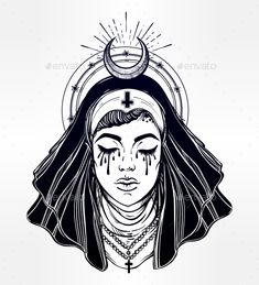 Illustration of a Nun with Tears in Her Eyes