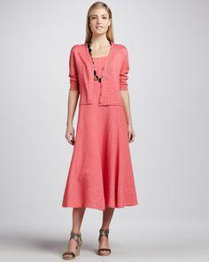 Lightweight Linen Cropped Cardigan & Handkerchief Long Linen Dress, Petite by Eileen Fisher at Neiman Marcus.
