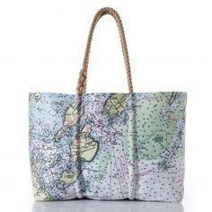 9d4f8214c710 Sea Bags Recycled Sail Cloth Casco Bay Nautical Chart Tote