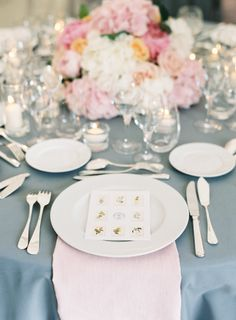 Rose Quartz hued table setting: http://www.stylemepretty.com/2015/12/03/pantone-2016-rose-quartz-serenity-wedding-inspiration/