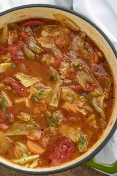 Cabbage Soup is the PERFECT savory vegetable soup made with cabbage tomato carrots celery and spices ready in under 45 minutes! Vegetarian Protein Options, Best Vegetarian Recipes, Beef Recipes, Cooking Recipes, Vegetarian Cabbage, Vegetarian Soup, Recipies, Meatless Recipes, Healthy Recipes