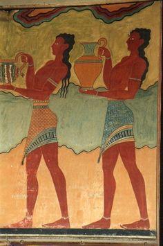 Affresco raffigurante due portatori di vasi, Palazzo di Cnosso, ca 1700-1400 a.C., civiltà minoica (periodo neopalaziale)