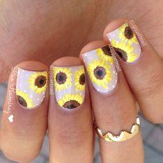 sunflowers nail art