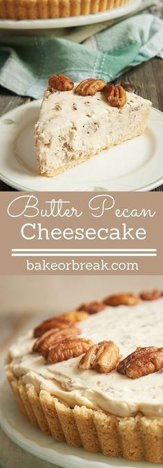 If butter pecan is your favorite ice cream, then this Butter Pecan Cheesecake may very well be your favorite cheesecake! It's filled with buttery, toasty pecans in a no-bake cheesecake filling, and it's absolutely fantastic! - Bake or Break Brownie Desserts, Just Desserts, Dessert Recipes, Pecan Desserts, Pecan Recipes, Pecan Pies, Holiday Desserts, Pecan Pie Cupcakes, Pecan Cobbler