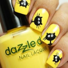Nail art Christmas - the festive spirit on the nails. Over 70 creative ideas and tutorials - My Nails Classy Nails, Cute Nails, Pretty Nails, Yellow Nails Design, Yellow Nail Art, Nail Lacquer, Nail Polish, Nail Nail, Nail Art Dessin