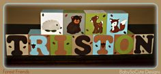 Personalized Baby Blocks: Name Nursery Decor - Forest Friends - Boy - Girl - Newborn - Photo Shoot Prop - Baby Shower Gift - Room Decor. $29.50, via Etsy.
