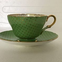 Shelley Tea cup and Saucer Gold Stars on Green Raremade