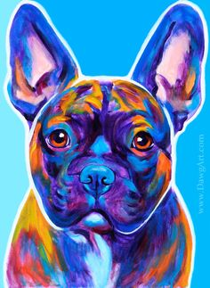 Colorful Pet Portrait French Bulldog Art Frenchie Dog Print 8x10 by Alicia VanNoy Call