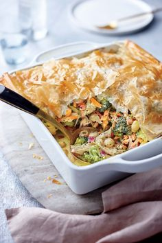 Turkey, Broccoli, and Phyllo Pie   MyRecipes  Skip the potpie and try a fragrant, flaky casserole for your turkey leftovers. If you don't have turkey, use shredded rotisserie chicken.