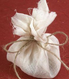 herbal sachet pre-cut fabric/muslin squares printed verse tag (cardstock) & tie with jute