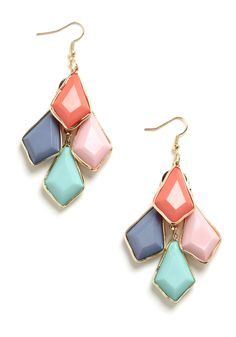 Pastel Pigments Earrings - Green, Blue, Purple, Pink, Gold, Rhinestones, Party, Casual