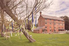 Flower and ribbon tree decoration from wedding at Sopley Mill.Photography by one thousand words wedding photographers