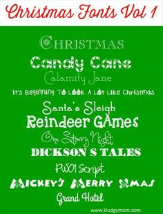A collection of Christmas fonts, holiday fonts and winter fonts perfect for any type of Christmas craft!