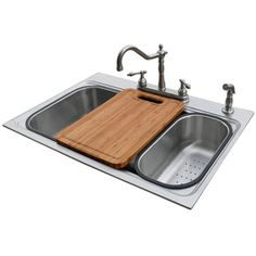 American Standard 22-in x 33-in Silver Single-Basin Stainless Steel Drop-In or Undermount 4-Hole Commercial/Residential Kitchen Sink