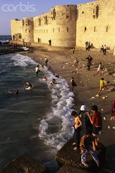 Children Playing on Beach, by Peter M. Wilson , Alexandria, Egypt