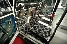 part way installing sound deadening using Dynamat in preperation for JL audio sound system and Diesel jeans interior creation