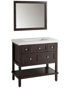 Ashland II 36 Inch Vanity In Chocolate With Vanity Top And Mirror