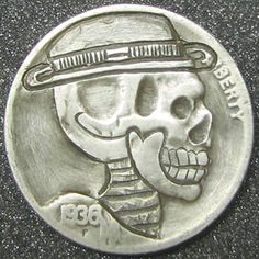 RUTH BORM HOBO NICKEL - SKELETON MOE - 1936d BUFFALO PROFILE Hobo Nickel, Skulls, Skeleton, Buffalo, Cactus, Coins, Profile, Personalized Items, Paper