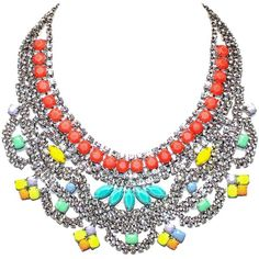 Tom Binns 'Soft Power' bib necklace ($1,615) ❤ liked on Polyvore featuring jewelry, necklaces, accessories, collares, colares, tom binns necklace, tri color jewelry, bib collar necklace, multi colored bib necklace and metal bib necklace