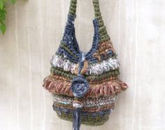 Forest slouchy bag, Slouchy bag, Crochet slouchy bag, Shoulder bag, Funky crochet bag, Boho shoulder bag, Freeform crochet bag