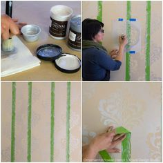 How to stencil a metallic wall finish with tone on tone patterned stripes - Royal Design Studio