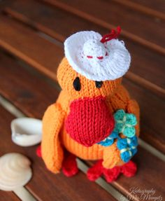 Dalla the sweet Duck with hat and flowers, Cute Toy duck for kids and adults, handknit from eco friendly cotton yarn, easter gift by KnitographyByMumpitz