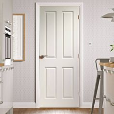 Victorian White Primed 4 Panel Door with Woodgrained Surfaces, good quality at a low cost. A door to brighten up your home. Pine Internal Doors, Internal Door Handles, White Panel Doors, Solid Doors, Traditional Doors, Traditional Interior, Primed Doors, Door Fittings, Cheap Doors