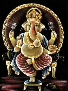 "Indian Hindu God Lord Ganesha Ganesh Handmade Art Oil Painting on Velvet Fabric Wall Decor Hanging 28"" X 22"" by Krishna Mart India, http://www.amazon.com/dp/B007RVCUS0/ref=cm_sw_r_pi_dp_OrGpqb1F6RXFJ"