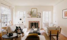 Neutral Color Scheme, Room Color Schemes, Noguchi Lamp, Modern Art Deco, White Sofas, Beautiful Space, Apartment Design, Interior Styling, Deco Interiors