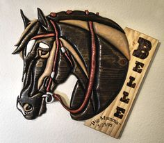 Custom Wood Intarsia Horse Portrait from Eklektik Kreations by Katie.. draft shire harness collar blinders eclectic wood intarsia pysanky ukrainian art eggs segmentation marquetry sculpture wall animal sale scroll saw natural grain decor home house products hand made painted glass glasses wine gifts Easter wax dye decorative glass decoration personalized name custom orders pet portrait sign