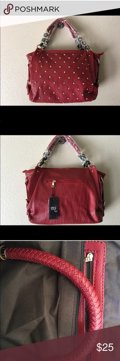 RED FAUX LEATHER BAG with CRYSTAL STUDS! You would Berger know this isn't leather. A good size bag with crystal bezel set studs on the front. New condition. Very nice looking bag! Bags Shoulder Bags