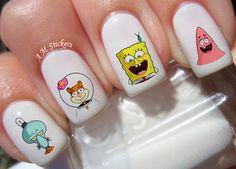 Spongebob Nail Art Stickers Transfers Decals Set Of 50 Nail Polish Designs, Acrylic Nail Designs, Nail Art Designs, Nails Design, Disney Acrylic Nails, Disney Nails, Mauve Nails, Gel Nails, Burgendy Nails