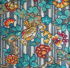 vintage-Liberty-birds-and-floral-stripe-arts-and-crafts-cotton-fabric