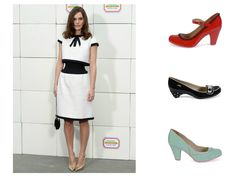 Keira Knightley wears a black and white optical dress from #Chanel. It can be matched with the #Cristofoli #shoes: the red July with black little flowers details, the black and white dots flats or the aqua pumps.