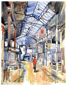 "Image 5 of 18 from gallery of Artworks by Architects to be Auctioned for Maggie's Centres. ""Borough Market November by Nick Hirst. Image Courtesy of Maggie's Travel Illustration, Urban Sketchers, Architecture Drawings, London Art, Art Boards, Watercolor Art, Auction, Gallery, Deco"